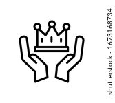 crown  hands icon. simple line  ...