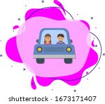 car  man  woman cartoon icon....