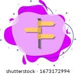 fingerpost colored icon. simple ...