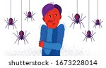 arachnophobia fear of spiders... | Shutterstock .eps vector #1673228014