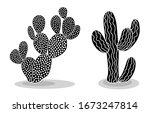 Black Silhouettes Of Cacti ...