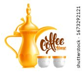 traditional arabic coffee set.... | Shutterstock .eps vector #1673292121