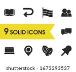 mixed icons set with pin  open...