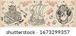 vikings. old school tattoo... | Shutterstock .eps vector #1673299357