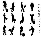 silhouettes of businesspeople | Shutterstock .eps vector #167331011
