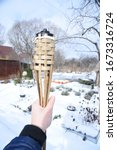 Cold Hand With Bamboo Torch In...