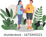 students. a guy and a girl with ... | Shutterstock .eps vector #1673345221
