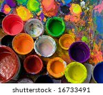 art studio paints - stock photo