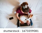 Young Woman Working On Laptop...