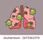 virus cells eating lung. virus...   Shutterstock .eps vector #1673361574
