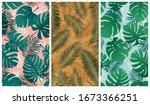 seamless tropical pattern with... | Shutterstock .eps vector #1673366251