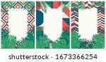 creative set of brochures with... | Shutterstock .eps vector #1673366254