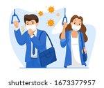men wearing hygienic mask...   Shutterstock .eps vector #1673377957