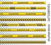 danger tape quarantine. warning ... | Shutterstock .eps vector #1673389351