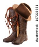Brown Leather Boots  Hat And...