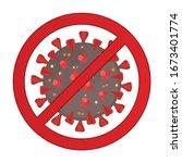 coronavirus icon with red...   Shutterstock .eps vector #1673401774