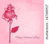 beautiful hand drawn rose.... | Shutterstock . vector #167340917