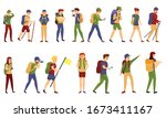 exploration icons set. cartoon... | Shutterstock .eps vector #1673411167