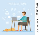 men use computer and internet... | Shutterstock .eps vector #1673420644