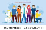 people and doctor wearing face... | Shutterstock .eps vector #1673426044