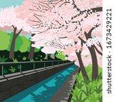 springtime concept. cherry... | Shutterstock .eps vector #1673429221