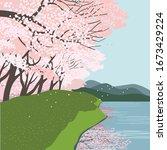 springtime concept. cherry... | Shutterstock .eps vector #1673429224
