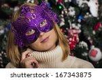 masquerade. beautiful girl in a ... | Shutterstock . vector #167343875