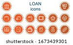 editable 14 loan icons for web... | Shutterstock .eps vector #1673439301