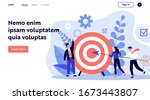 businesspeople driving arrow to ... | Shutterstock .eps vector #1673443807