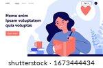 teenage girl writing diary or... | Shutterstock .eps vector #1673444434