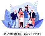 happy big family standing... | Shutterstock .eps vector #1673444467