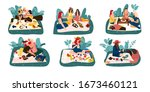 cartoon picnic. happy... | Shutterstock .eps vector #1673460121