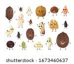 Nuts Cartoon Characters. Cute...
