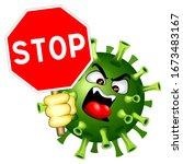 coronavirus evil virus with... | Shutterstock .eps vector #1673483167
