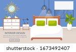 bedroom interior. vector web... | Shutterstock .eps vector #1673492407