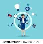 vector of a multitasking... | Shutterstock .eps vector #1673523271