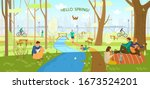 spring park with people... | Shutterstock .eps vector #1673524201