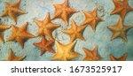 Sea Stars Underwater On Sandy...