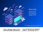 data center flat isometric...   Shutterstock .eps vector #1673532397