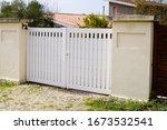 Suburban Metal Gate White Fence ...
