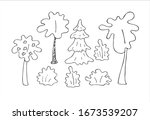 set of trees. isolated on a...   Shutterstock .eps vector #1673539207