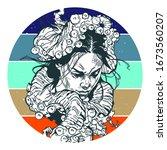 girl head in arms of octopus... | Shutterstock .eps vector #1673560207