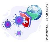 covid 19 coronavirus with earth ...   Shutterstock .eps vector #1673563141
