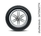 black auto tire isolated   for... | Shutterstock .eps vector #1673563774