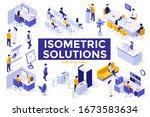 office scenes   clerks working... | Shutterstock .eps vector #1673583634