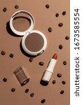 deep beige makeup set coffee... | Shutterstock . vector #1673585554
