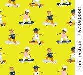 boys riding on a skateboard... | Shutterstock .eps vector #1673603881