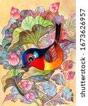 cute birds and tropical... | Shutterstock . vector #1673626957
