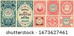 set of 8 vintage labels. vector ... | Shutterstock .eps vector #1673627461