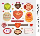 happy valentines day cards set... | Shutterstock .eps vector #167366471